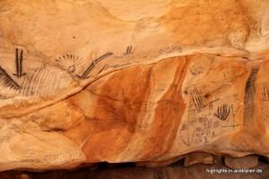 Aborigine Malereien in den Höhlen